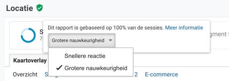 Screenshot in Google Analytics van de nauwkeurigheid van een steekproef