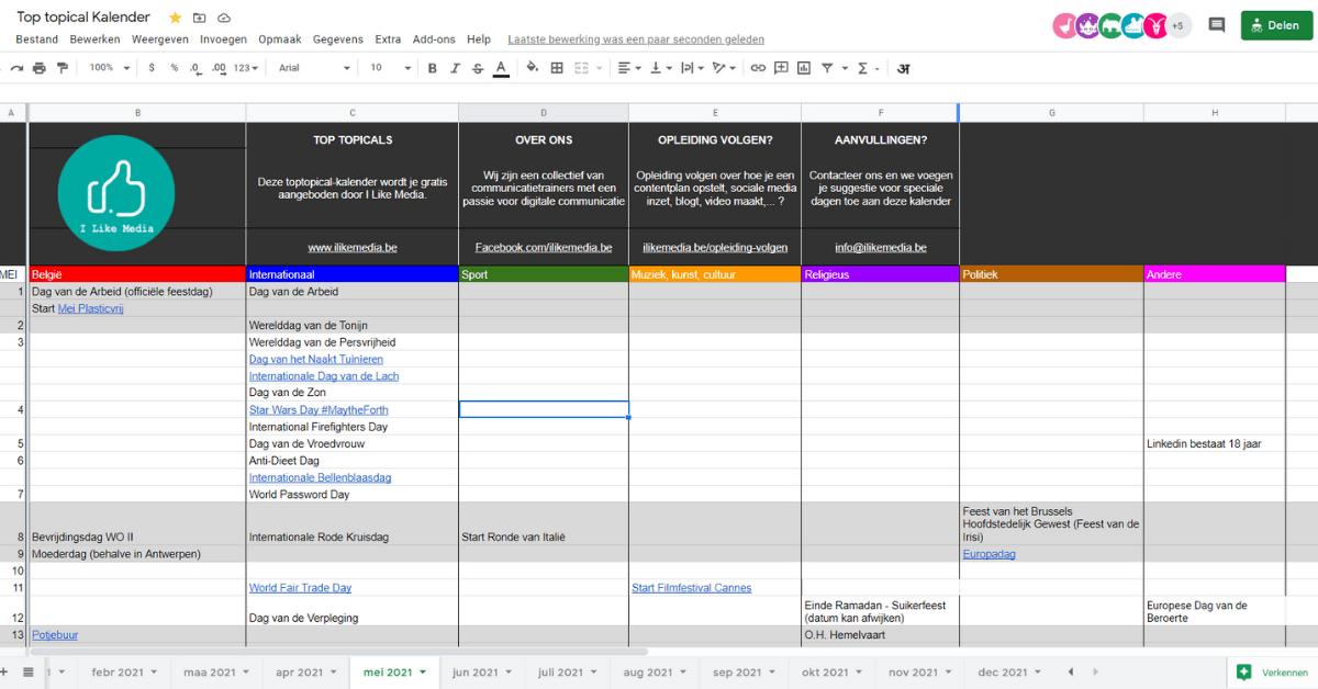 spreadsheet met inhakers
