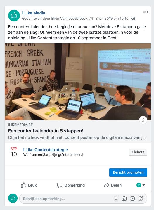 Facebook evenement bij link