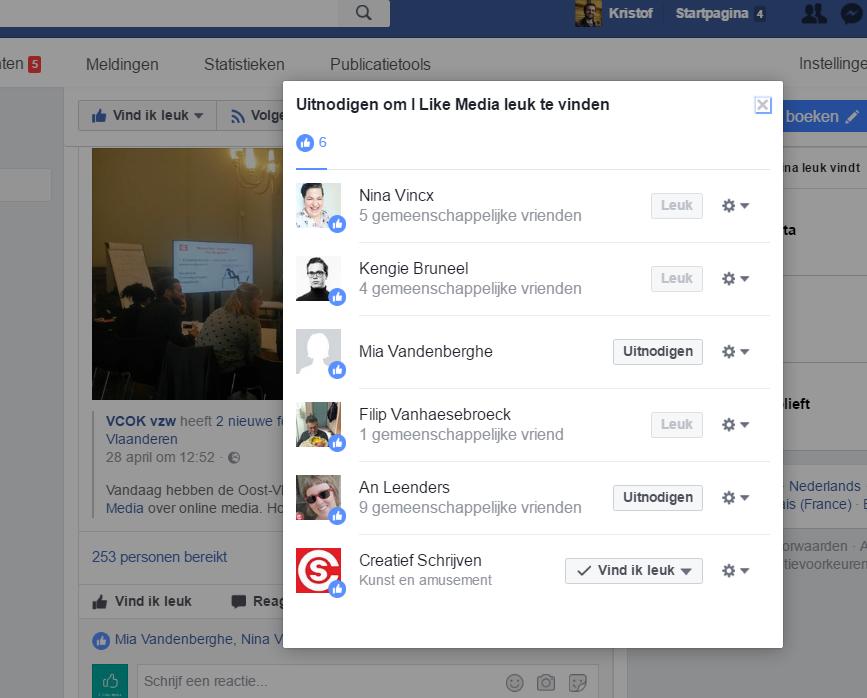 vrienden uitnodigen facebook bedrijfspagina
